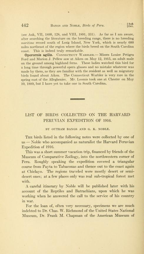List of Birds Collected on the Harvard Peruvian Expedition of 1916